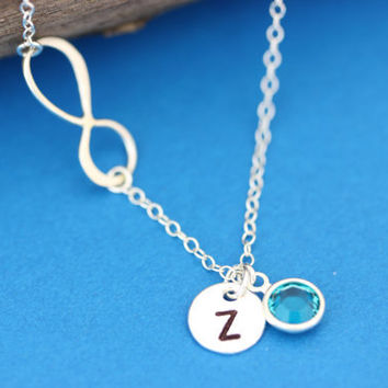 Infinity Necklace . Initial Necklace . Sideways, Infinity necklace with Initial and Birthstone . Friendship . By MonyArt.