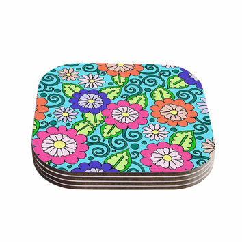 "Sarah Oelerich ""Summer Floral"" Multicolor Flowers Coasters (Set of 4)"