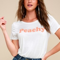 Peach Please White Tee
