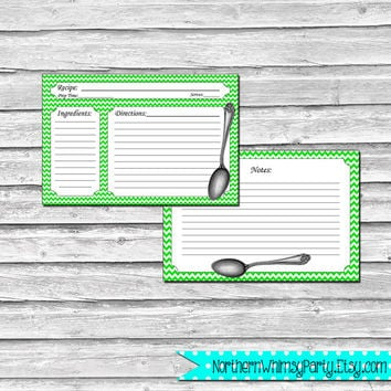 4x6 Recipe Cards – Retro Spoon Set – Bright Green Chevron – Printable Bridal Shower,  Hostess, or Housewarming Gift – INSTANT DOWNLOAD