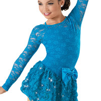 Long Sleeve Lace Ribbon Dress -Weissman Costumes