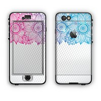 The Vibrant Vintage Polka & Sketch Pink-Blue Floral Apple iPhone 6 Plus LifeProof Nuud Case Skin Set
