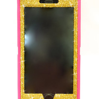 iPhone 6 Plus OtterBox Defender Series Case Glitter Cute Sparkly Bling Defender Series Custom Case  pink / gold
