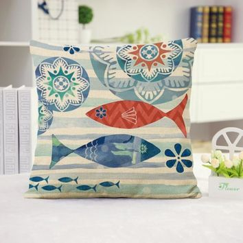 Fish Cotton Linen Pillow Cover