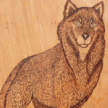 Wood burned Wolf Wall Plaque on Cypress Wood; Wolf Wall Hanging; Wolf Wall Decor; Rustic Wall Decor; Wolf Rustic Wall Decor; Wolf Wall Art