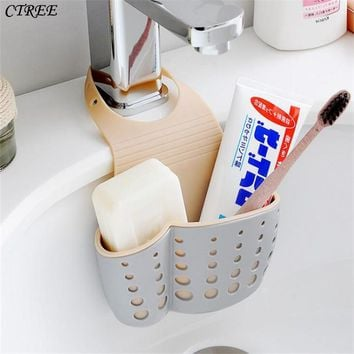CTREE 1Pc High Quality Bathroom Sink Storage Basket Hanging Drain Shelf Sponge Holder Hair Stoppers Catcher Kitchen Gadgets C229
