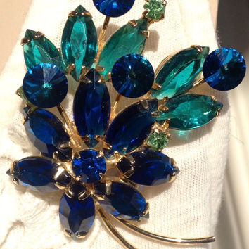 Spectacular Vintage Blue Green Brooch Juliana Unsigned Beauty Perfect Gift Mid Century Glamour