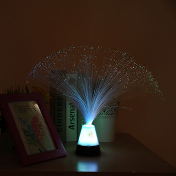 Romantic Color Changing Multicolor Colorful Fiber Optic Fountain Night Light Hotel Decor Decoration Lamp Gift