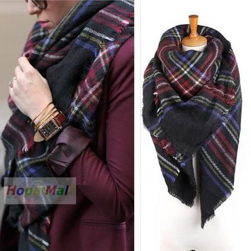 2014 New Hote  Fashion Checked Scarf Women Blanket Oversized Plaid Tartan Scarf Wrap Shawl (color: Multicolor) = 1957943748