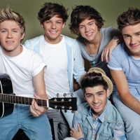 One Direction - Horizontal Group with Guitar Music Poster Posters at AllPosters.com