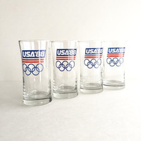 1988 USA Olympic Glasses Set of 4, Vintage 1988 Team USA Olympic Tumbler Glasses