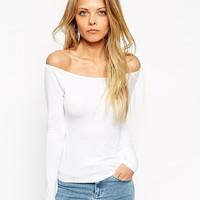 ASOS Top with Bardot Neckline and Long Sleeves