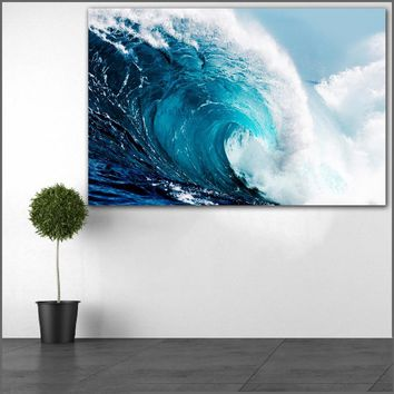 large size Printing Oil Painting waves ocean stock wall art canvas print pictures for living room and bedroom No Frames