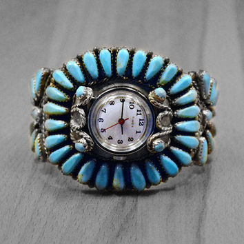 Vintage Zuni Blue Turquoise Cuff Watch Bracelet in 925 Sterling Silver, Vintage Native American Handmade Turquoise Bracelet Watch