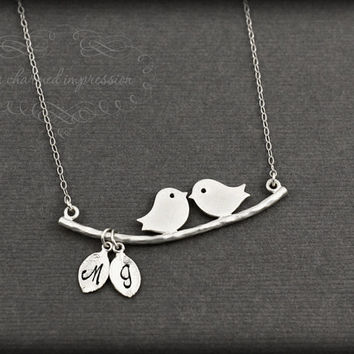 Sterling Silver Love Bird Necklace, Two Initial Charms, Anniversary, Bridal Shower, Gold Bird Necklace, Personalized Gifts, Mothers Day Gift