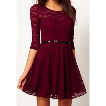 Red Cut Out Pleated Lace Dress