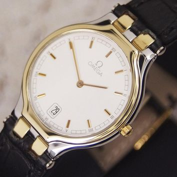 Authentic Omega DeVille Symbol Date 18k Solid Gold Bezel Quartz Mens Watch