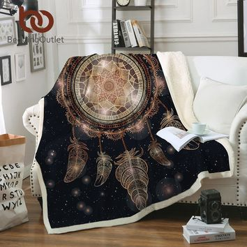 BeddingOutlet Dreamcatcher Throw Blanket on the Bed Galaxy Boho Sherpa Fleece Blanket Luxurious Velvet Plush Sofa Plaid manta