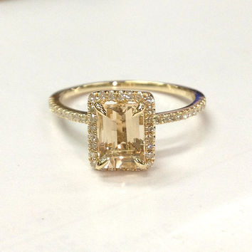 Morganite Engagement Ring 14K Yellow Gold!Diamond Wedding Bridal Ring,Claw Prongs,5x7mm Emerald Cut Morganite,Can make matching band
