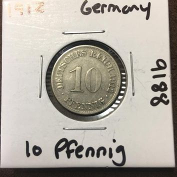 1912 German Empire 10 Pfennig Coin 9188