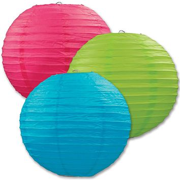 Paper Lanterns - Assorted Cerise, Light Green, Turquoise Case Pack 6