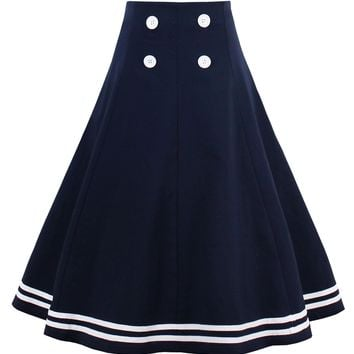 Chicloth Dark Blue High Waist Sailor Skirt
