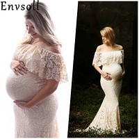 Envsoll Maternity Dresses For Photo Shooting Red Dress Maternity Photography Props Maxi Dress Pregnancy Dress Maternity Grown