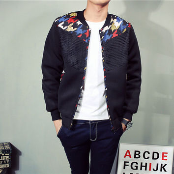 Men Mosaic Lace Cotton Thicken Plus Size Jacket [6541167939]