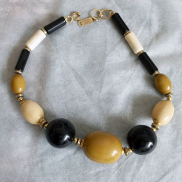 Luciana Bijoux Necklace, Designer Piece, Hallmarks, Chain Tags, Italian, Made in Italy, Stone, Acrylic Bead Necklace w Gold Spacers,