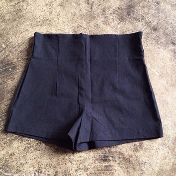 high waisted black shorts, 90s super short black hot pants / booty shorts, womens med 28""