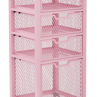 Office Star Clayton 4 Drawer Rolling Cart in Pink Metal Finish Frame Fully Assembled [CLY04AS-261]