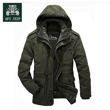 -30 Degree Winter Coat Men Jackets New 2017 Plus Size 4XL Brand AFSJeep warm Thick Coats Military Vintage Style Mens Clothing
