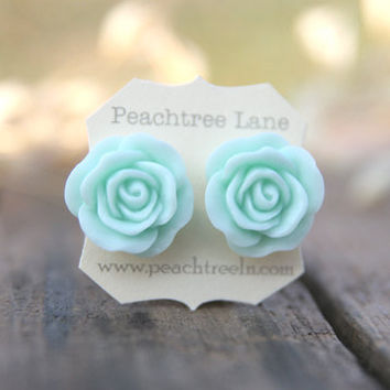 Large Mint Seafoam Green Rose Flower Earrings // Bridesmaid Gifts // Outdoor Rustic Wedding // Bridal Shower Gifts
