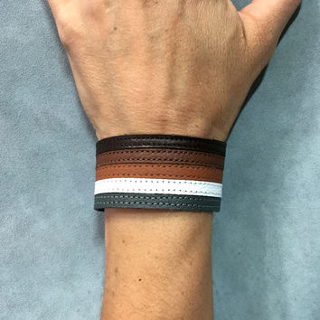 Bear pride bracelet cuff, gay bear, mens leather wristband.