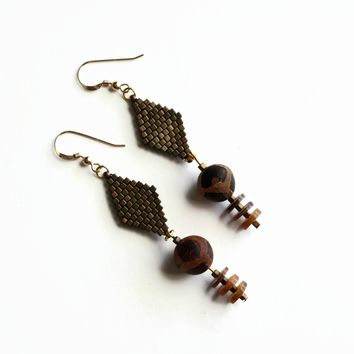 Earth Tone Tribal Artisan Earrings With Ancient Tortoise Agate Beads