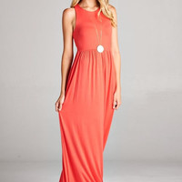 Solid Racerback Maxi Dress - Coral