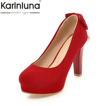 KARINLUNA High Quality 2018 Slip On Large Size 31-47 Black Women Shoes Woman Fashion Bowtie High Heels Party Wedding Pumps