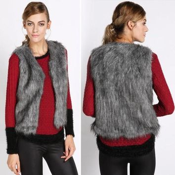 PEAPUG3 Fall Winter Women Faux Fur Vest Winter Vest Sleeveless Luxury Fur Waistcoat  SV006102