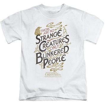 Fantastic Beasts 2 Boys T-Shirt Blinkered People White Tee
