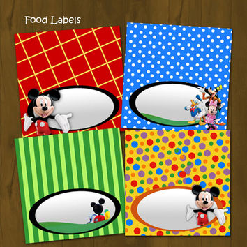 Mickey Mouse Clubhouse Printable Food Labels - Mickey Clubhouse Food Labels (Tent Cards) - INSTANT DOWNLOAD