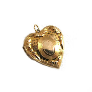 Vintage 40s Locket Heart Pendant 10K Gold Filled Engraved Wedding Necklace, Mothers Day Gift