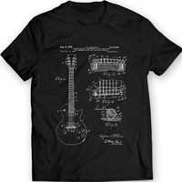 Gibson Les Paul Guitar Patent T-Shirt Mens Gift Idea Music Tee