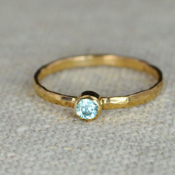 Classic Rose Gold Filled Aquamarine Ring, Solitaire, Solitaire Ring, Rose Gold Filled, March Birthstone, Mothers Ring, Gold, Aquamarine Ring