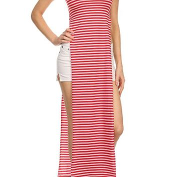 Sexy Striped Short Sleeve Double Bodice High Split Open Tee Shirt Maxi Dress