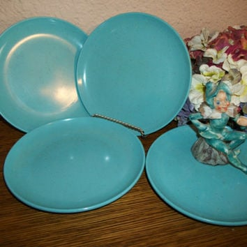 Melmac Bread Plates Debonaire Teal Blue Speckled Confetti Dinnerware Turquoise Melamine Dessert Serving Dishes Vintage 1940s Tableware