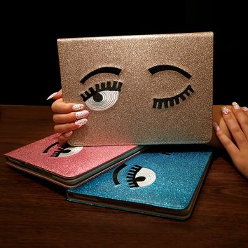 Bling Bling Cute Eye Leather Case for iPad
