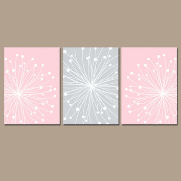 Pink Gray Nursery Wall Art CANVAS or Prints Girl DANDELION Bedroom Pictures Bathroom Artwork Black White Flower Set of 3 Home Decor