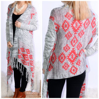 Secret Temple Grey & Red Aztec Print Cardigan