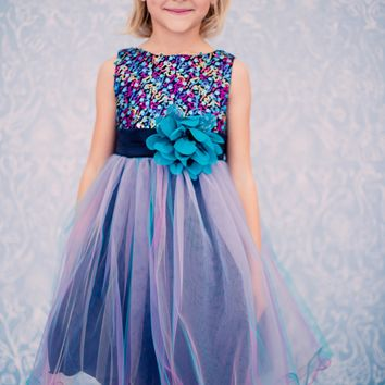 Teal & Black Multi Color Sequins, Satin and 3 Layers of Tulle Occasion Dress (Girls Sizes 2T - 14)