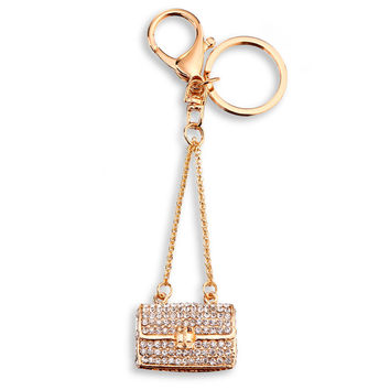 Stunning Rhinestone Handbag Shaped Key Fob/ Ring